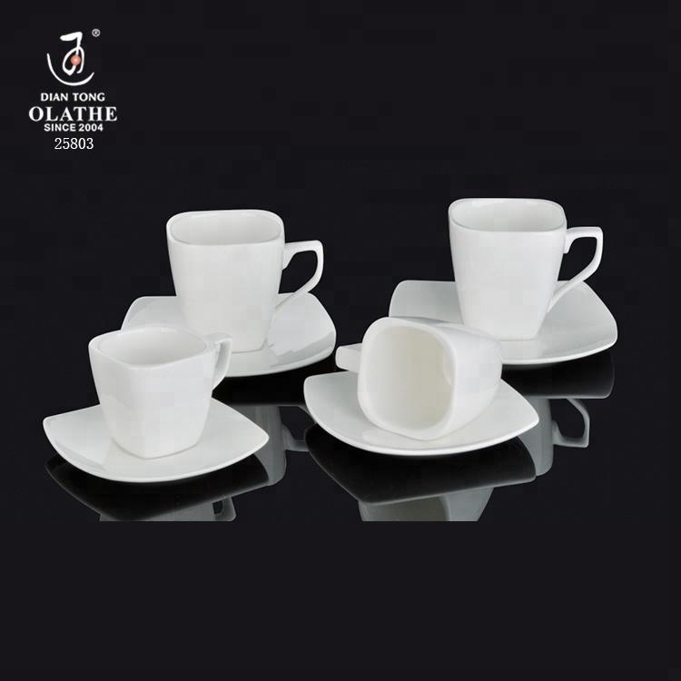Factory Custom Unique Square Shape Espresso Coffee Cup And Saucer Set