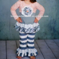 Bulk wholesale organic children's clothing baby ruffle clothes sets boutique children clothing