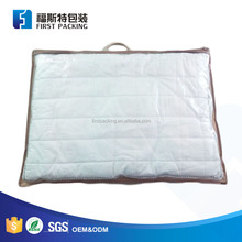Plastic Pillow Clear Vinyl Carrier Zipper Storage Bag Blanket Packaging Bag with Rope Handle