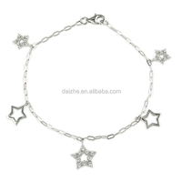 factory high quality wholesale price little star charm 925 sterling silver bracelet