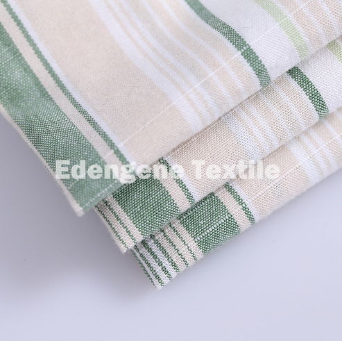 100% cotton slubbed yarn dyed plain woven fabric