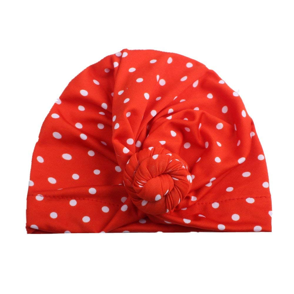 Jshuang Elasticity Baby Wave Knot Knotted Indian Style Cap, Newborn Toddler Child Baby Boy Girl Headscarf Cotton Bean Bean Hat Winter Warm Hat, Suitable for 3M~6 Years Old (Red)