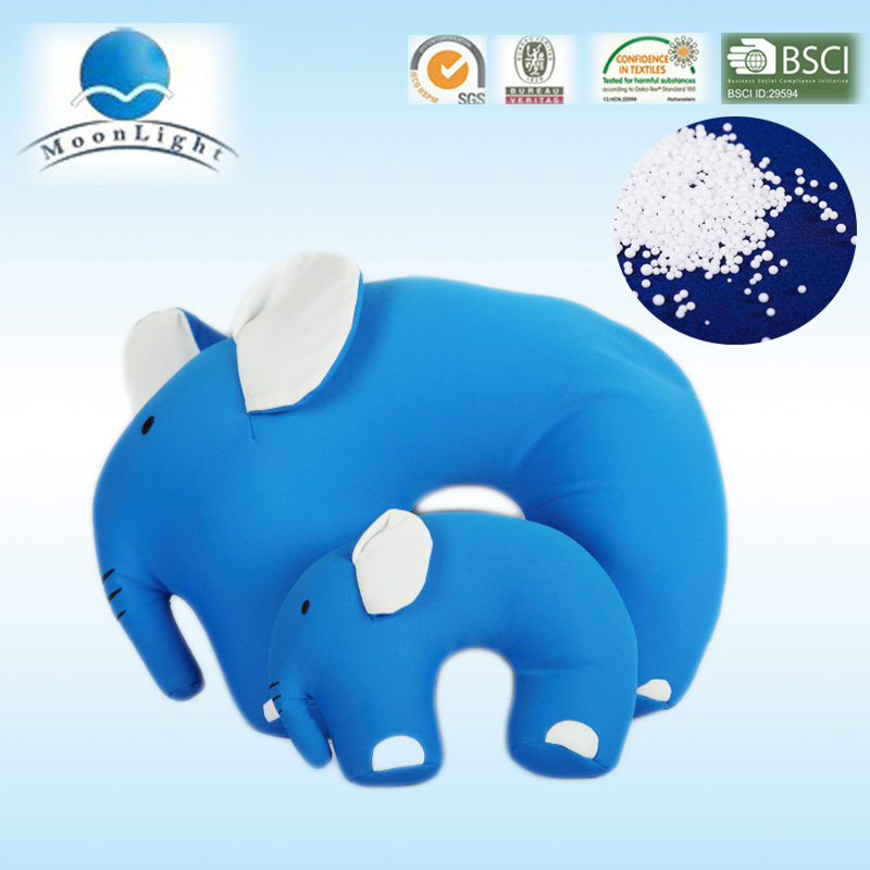 Light blue u shape cute elephant microbead stuffed pillow