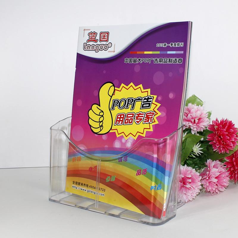 Wandmontage A4 plastic tijdschrift brochure kaarthouders teller display stand