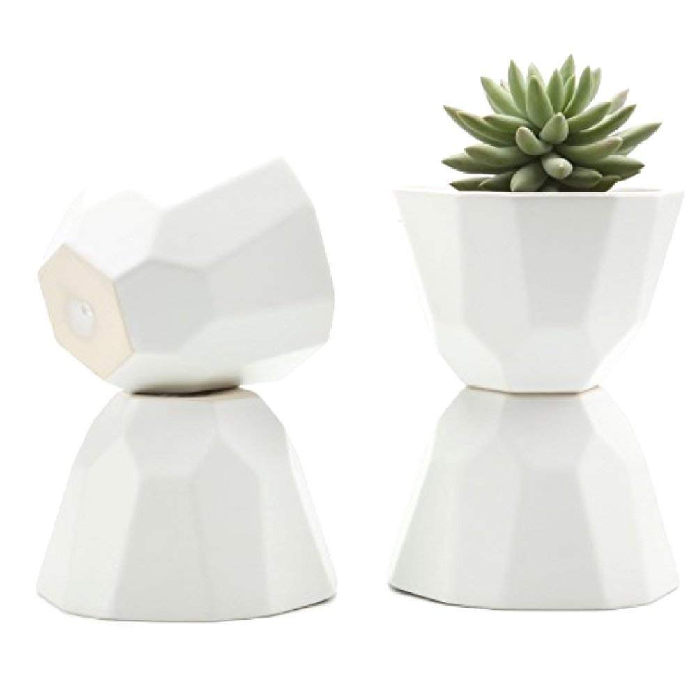 Round Ceramic Pots For Plants 5 Inch Geometric Pattern Semi Luster Surface Matt white Pack of 4 For Succulent Herbs & Cactus Plants Indoor Use Perfect Gift -MegaTrade Prime