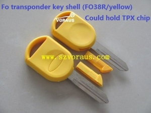 New replacement colorful yellow Fo transponder key shell FO38R uncut blade Could hold TPX chip