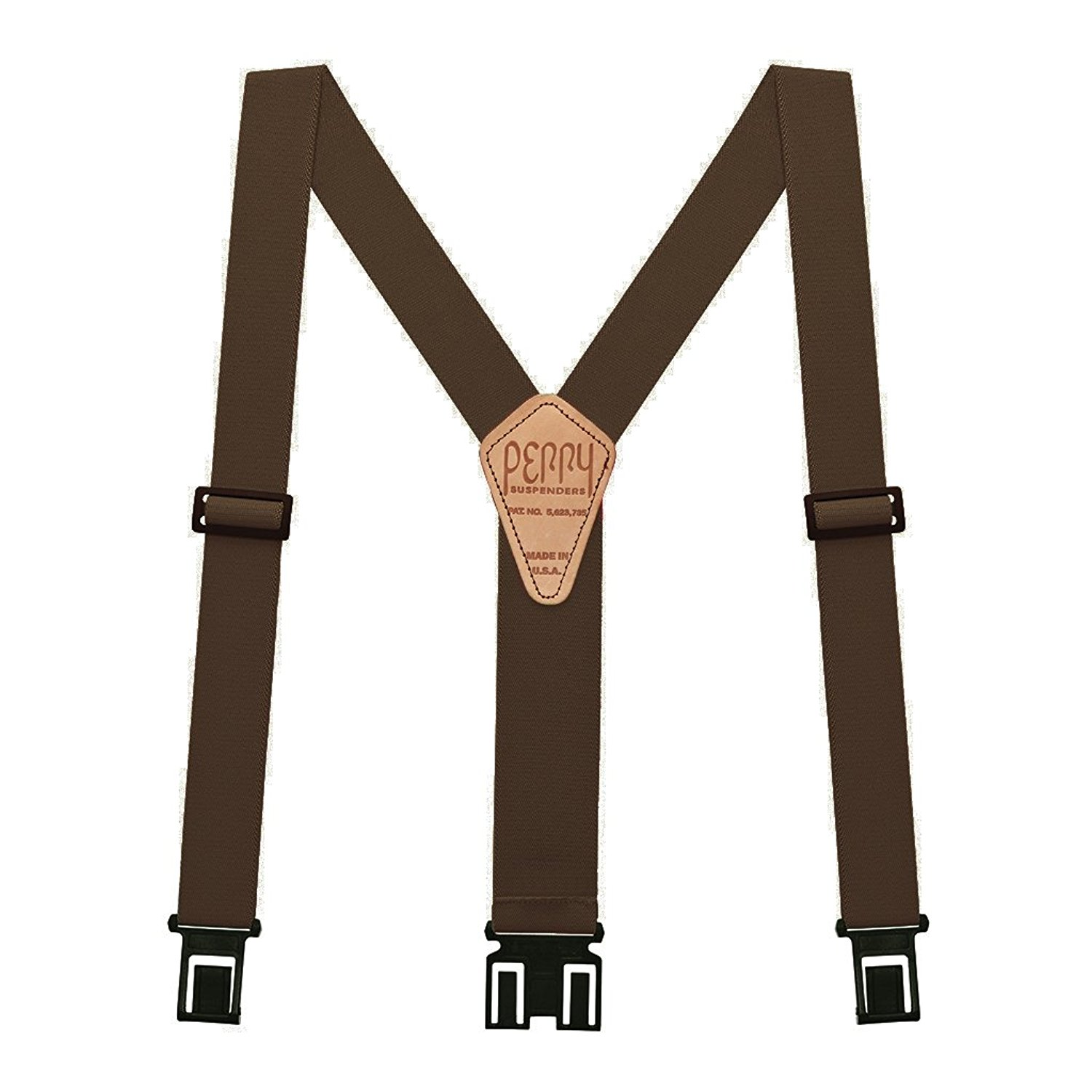 Perry Products SN200 Men's Clip-On 2-in Suspenders(Tall, Brown)