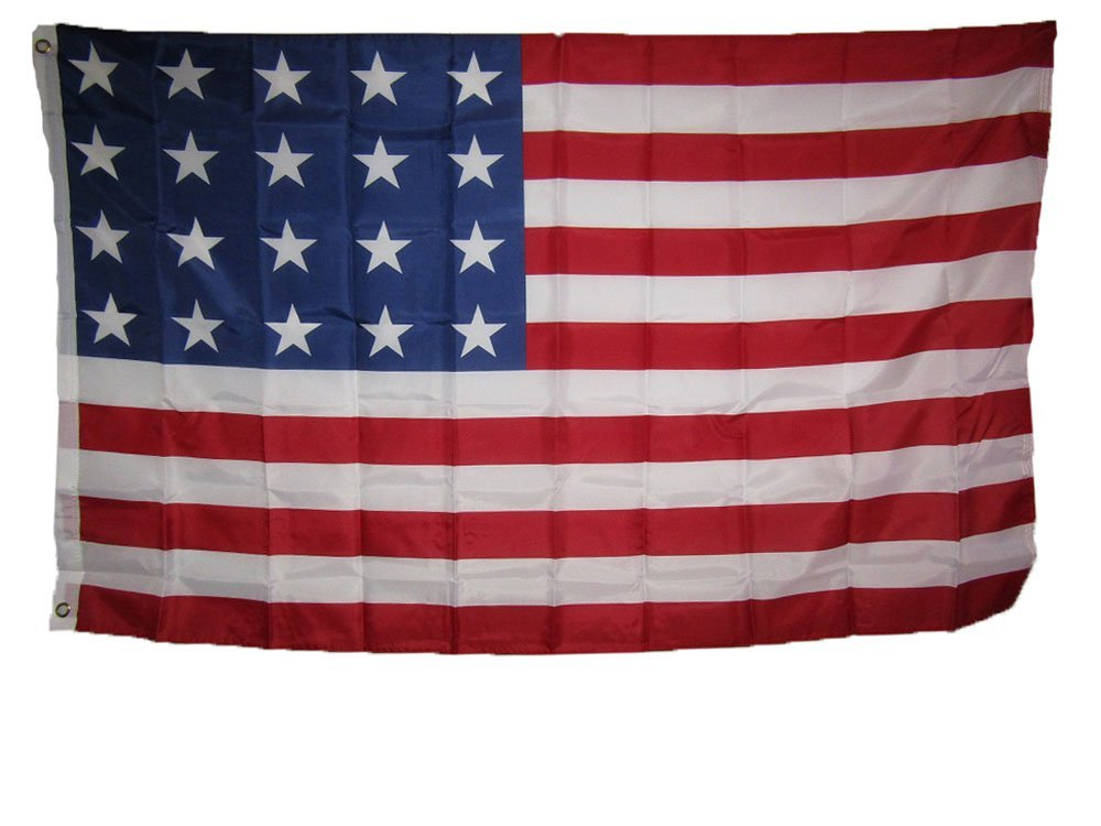 3x5 USA American 20 Star Linear 1818 Historical Flag 3'x5' Super Polyester Nylon House Banner Grommets Double Stitched Metal Eyelets For Hoisting Fade Resistant Premium Quality
