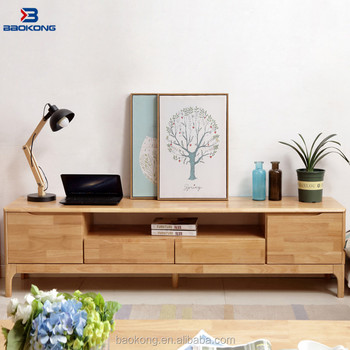 New Model Wooden TV Stand Cabinet Modern Rubber Wood Furniture
