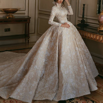 46fd663d0eb muslim bridal wedding dress 2018 high neck lace appliques beading sequins  long sleeve chapel train bridal