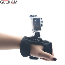 GEEKAM Go pro Accessories 360 Degree Rotation Glove-style Wrist Hand Mount Strap Holder for GoPro Hero 4/3+/3 sj4000 Xiao Mi Yi