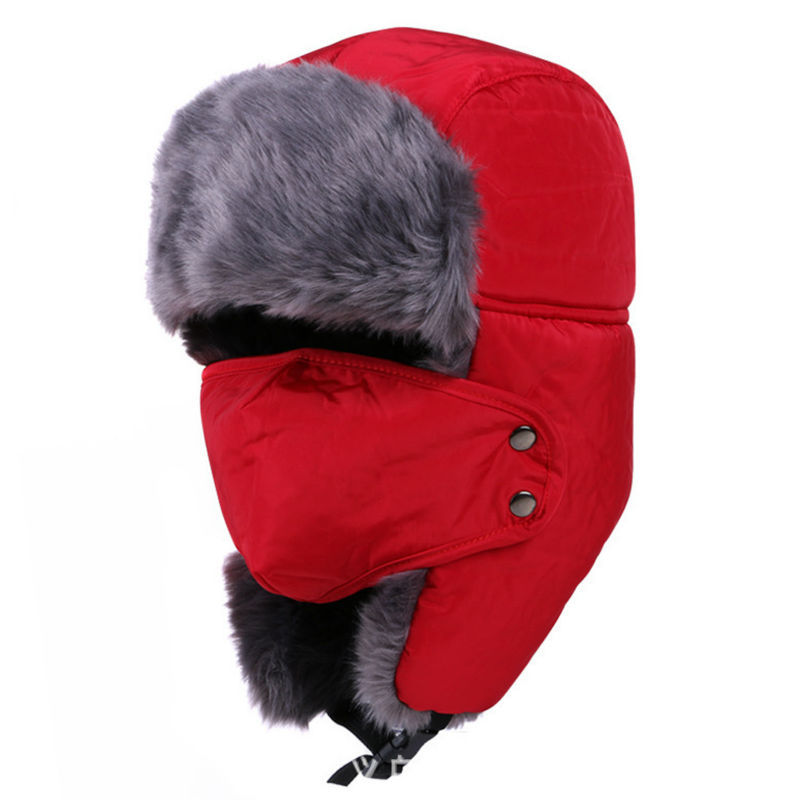 c5e21fb685d Get Quotations · Men Winter Fur Motobike Hat Trapper Aviator Trooper Earflap  Warm Snow Ski Hat With Mask Bomber