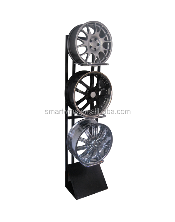 China Factory Directly Selling Custom Made Tire Rim Floor Standing Display Rack For <strong>Retail</strong> Showroom