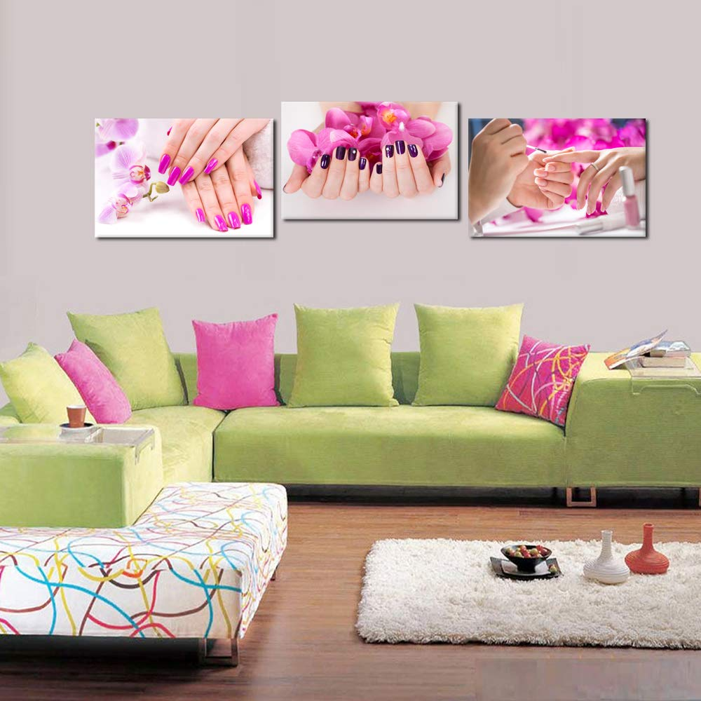 Purple Orchid Flowers Nail-Painting Wall Art Hands Spa Pictures Beauty Salon Manicure Posters Printed On Canvas for Nail Salon