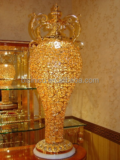 Luxury golden flower vase floor standing chandelier lamp for Gold flower floor lamp