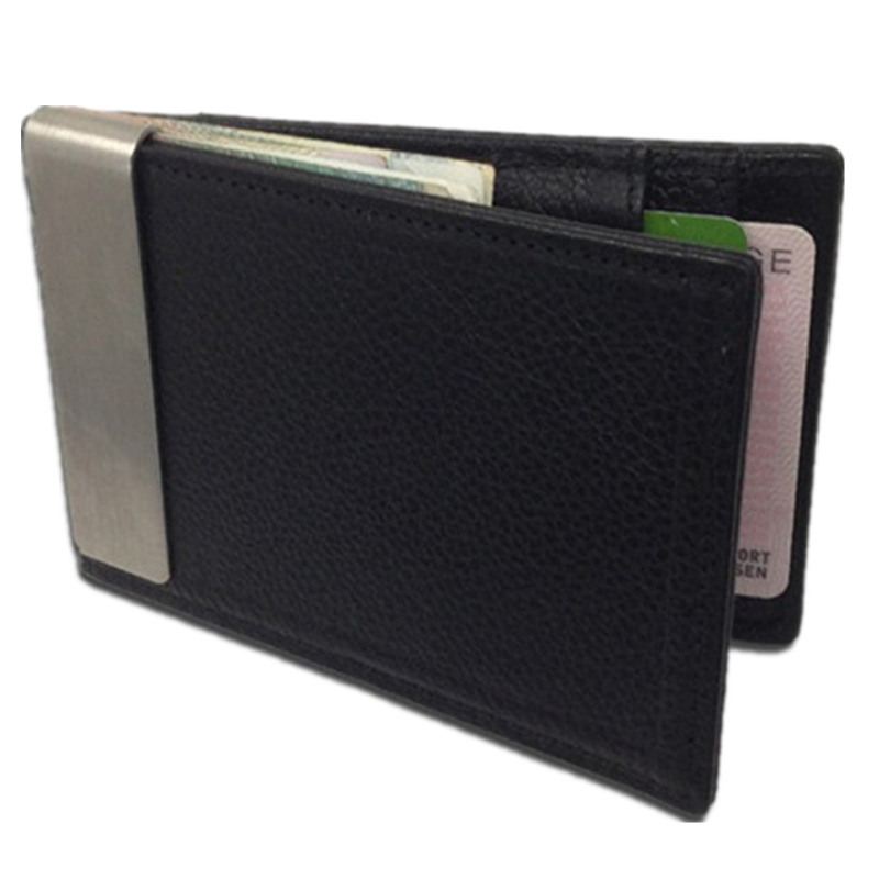 Money Clip New fashion 100% Brand Genuine cow leather stainless steel money clips men wallet Black H039b