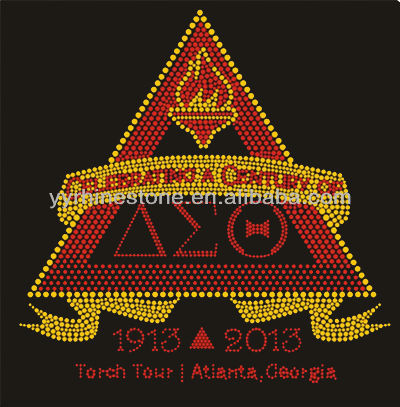 Greek Letters Delta Sigma Theta Hot Fix Rhinestone Iron On Transfer