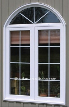 Fixed Arch Top Double Glazing Pvc Casement Window
