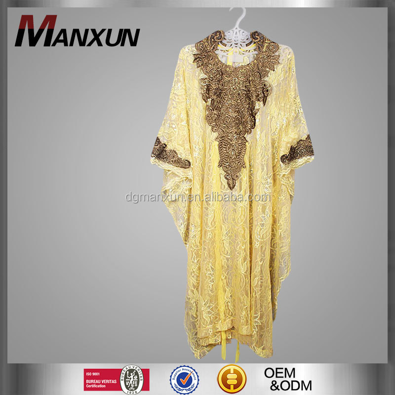 Islamic Clothing Wholesale Abaya Tunic Dress Sheer Yellow Brocade Lace Embroidery Jalabiya Handmade Moroccan Caftan