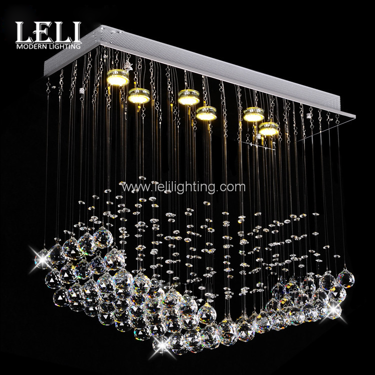 Modern fashion ceiling hotel ball rain drop round chandelier stainless steel pendant lamp