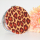 High-end leopard print metal compact folding pocket makeup mirror