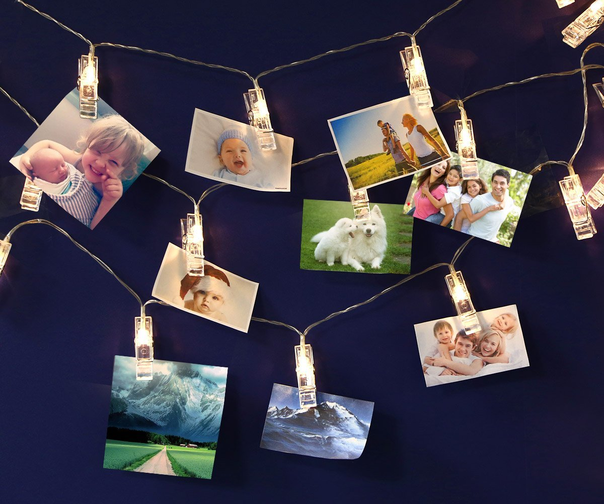 LED Photo Clip String Lights, Battery Powered 20 Photo Clips, 16.4ft/5m, Warm White, Perfect for Hanging Pictures, Notes, Artwork in Bedroom, Living Room, Birthday, Festival, Party