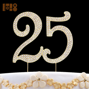 high quality 25 birthday cake topper, fine cake decoration, beautiful birthday memorial-Gold