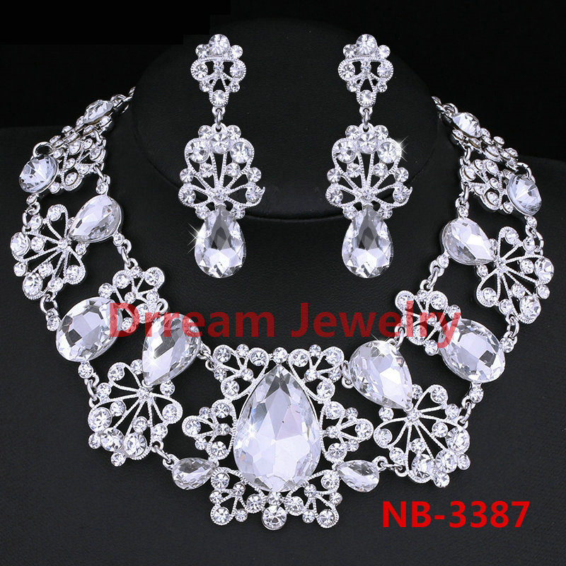 Large Teardrop 100% Crystal Imitated Gemstone Bridal Wedding Jewelry Sets Choker Necklace Earrings