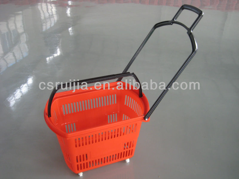 Plastic Supermarket shopping rolling baskets