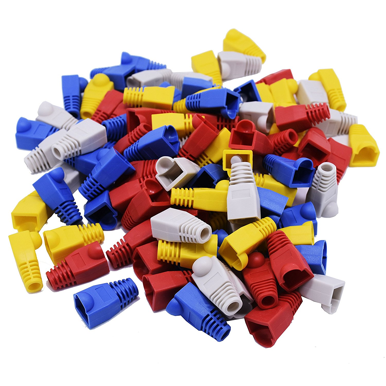 TOOTO 100 Pcs Mixed Color CAT5E CAT6 RJ45 Ethernet Network Cable Strain Relief Boots Cable Connector Plug Cover, Network Cable Boots Cap Cover