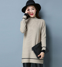 Winter Women Custom Design Girls Turtleneck Long-sleeved Knit Dress sweater