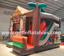 commercial 0.55mm pvc Inflatable Tiki Hut moonwalk jumper bouncer and slide