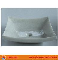 Crystal white marble natural stone basin