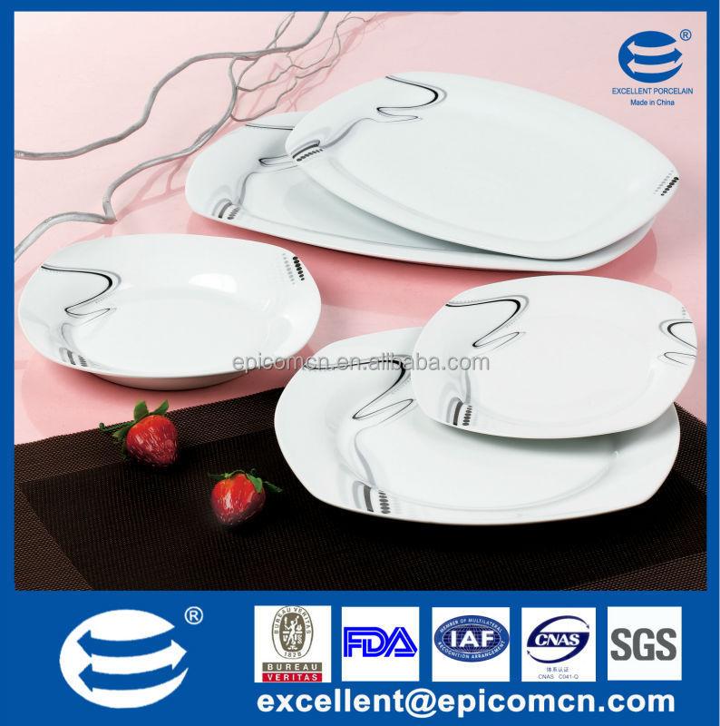 Square Shape White Porcelain Kitchen And Dining Serving Set Ceramic 20pcs  Of Dinner Ware