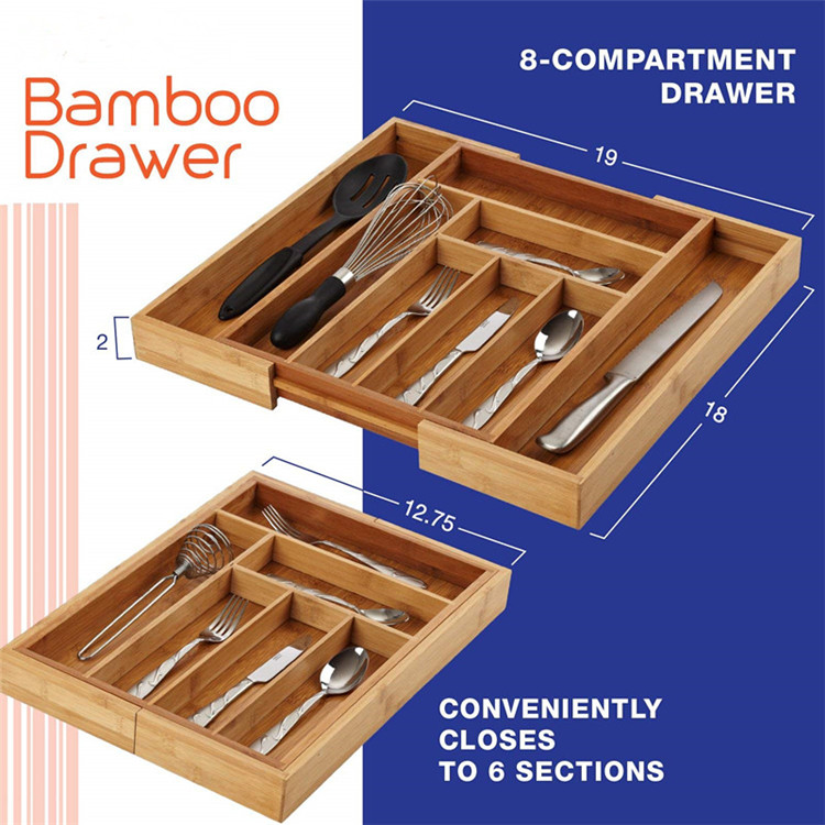 High Quality Bamboo Expandable Cutlery Tray 9