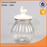 2.5L-5L New design glass storage jar with ceramic lid glass bottle glass cooky jar made in china