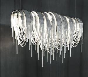 Designer led large chain chandeliers light for hotels
