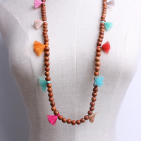 bohemian wood jewelry wooden beads spring charming tassel necklace