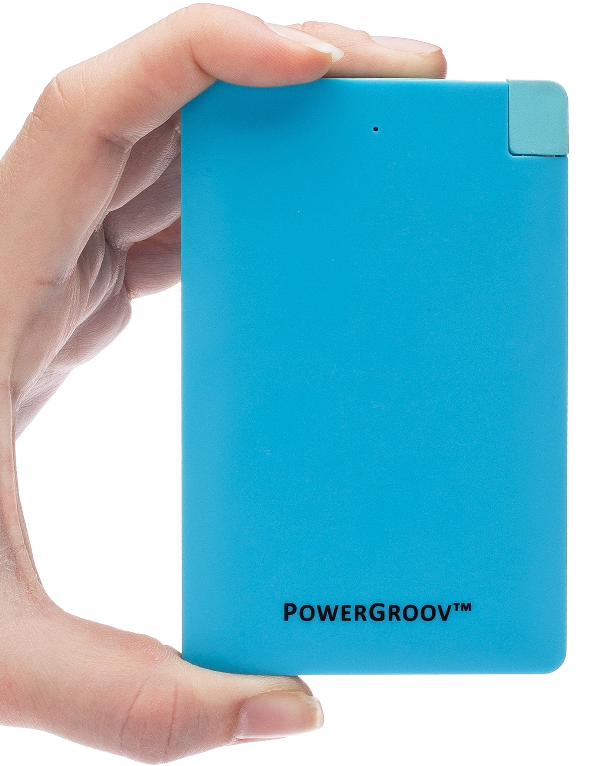 PowerGroov Power Bank 2500mAh Portable External Battery Pack Charger Built-in Micro USB for Android Phones & Apple iPhone. Ultra Slim & Lightweight, Fits Even Your Pocket or Wallet (Blue)