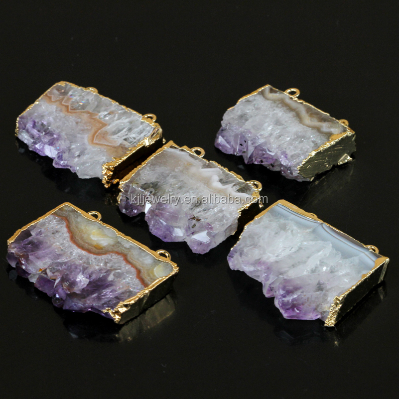2017 new design Natural amethyst stone point bullet pendant necklaces,purple faceted gem stone pendant with gold plating