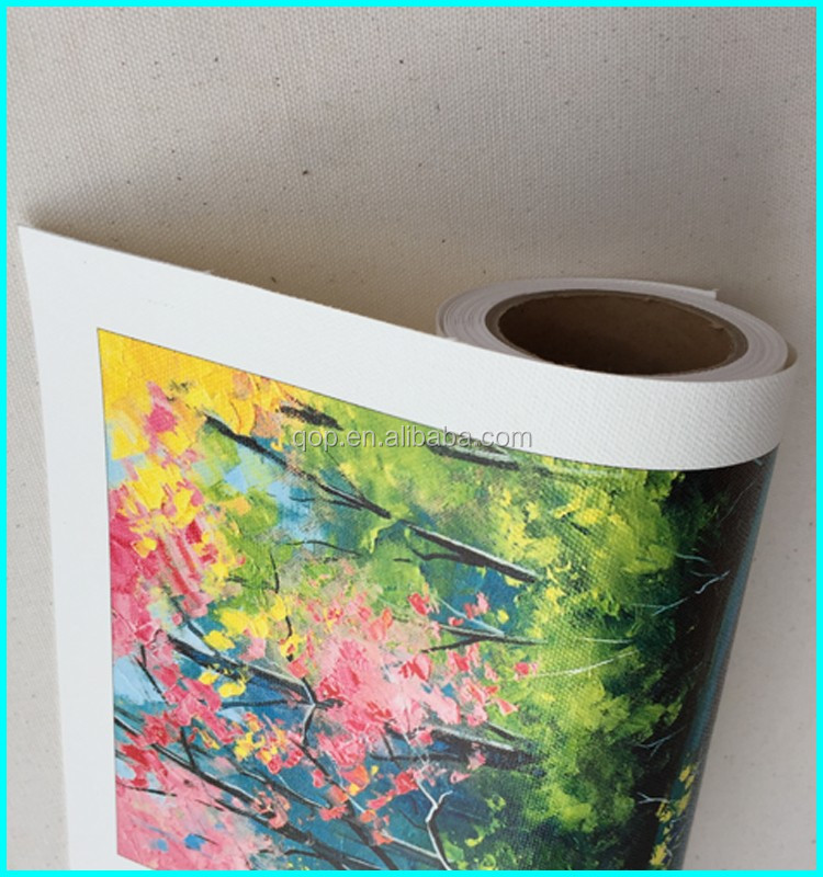 Solution industry glossy artist canvas poly cotton canvas fabric 380gsm poly-cotton latex canvas