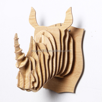 Indian Style Rhino Head Wall Decor Hanging Diy Wooden Animal Craft Creative Bar