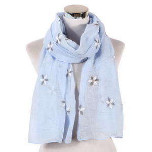 Fashion Hot Sale Blue Women Floral Shawls Lovely Printing Lily Scarf