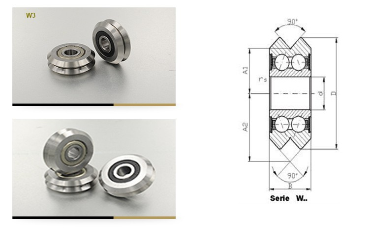 VWS4 Vee Guide Wheel track roller bearing V groove guilde Wheels bearings