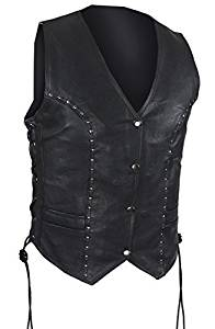 Womens Studded Leather Motorcycle Vest with Gun Pockets (Size XL, X-Large, 40)