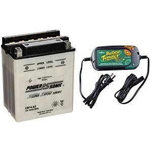Power-Sonic CB14-A2 Conventional Powersport Battery and Battery Tender 022-0185G-dl-wh Black 12 Volt 1.25 Amp Plus Battery Charger/Maintainer Bundle
