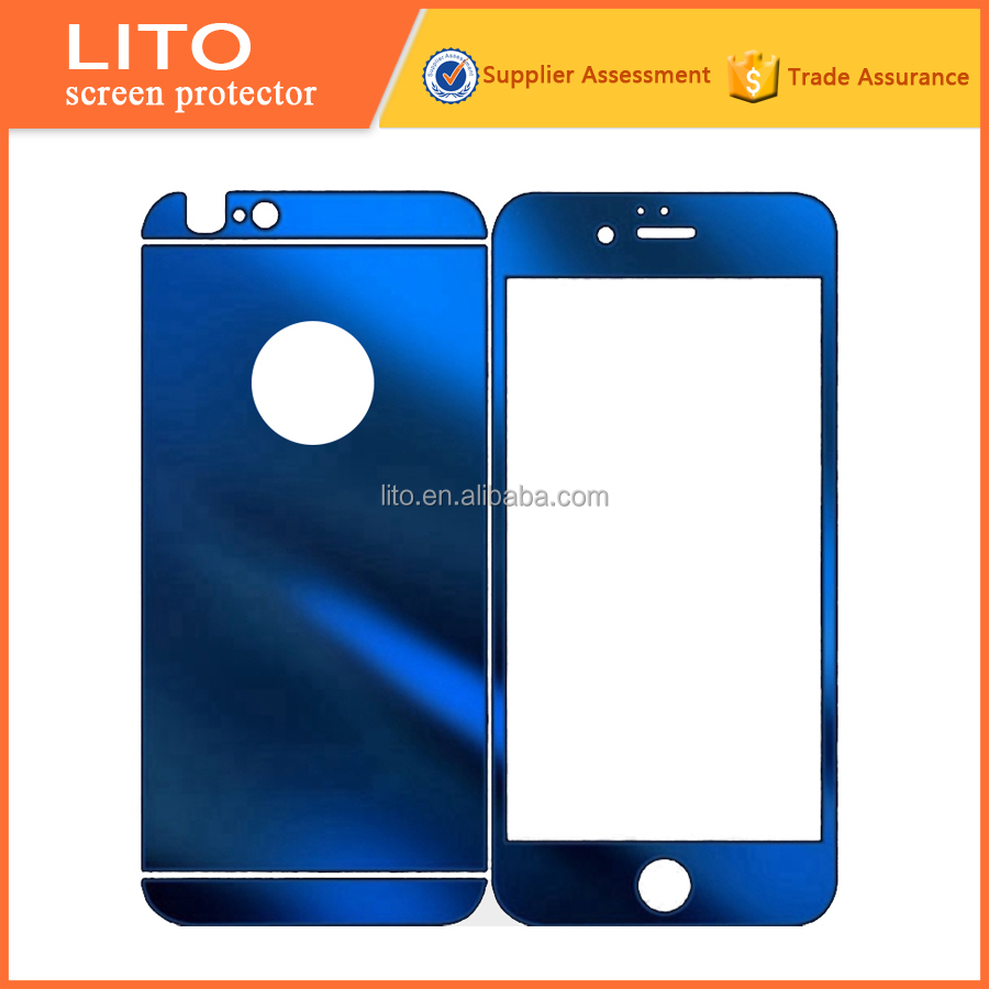 Hot selling Colorful tempered glass mirror screen protector for iphone 5s / 6