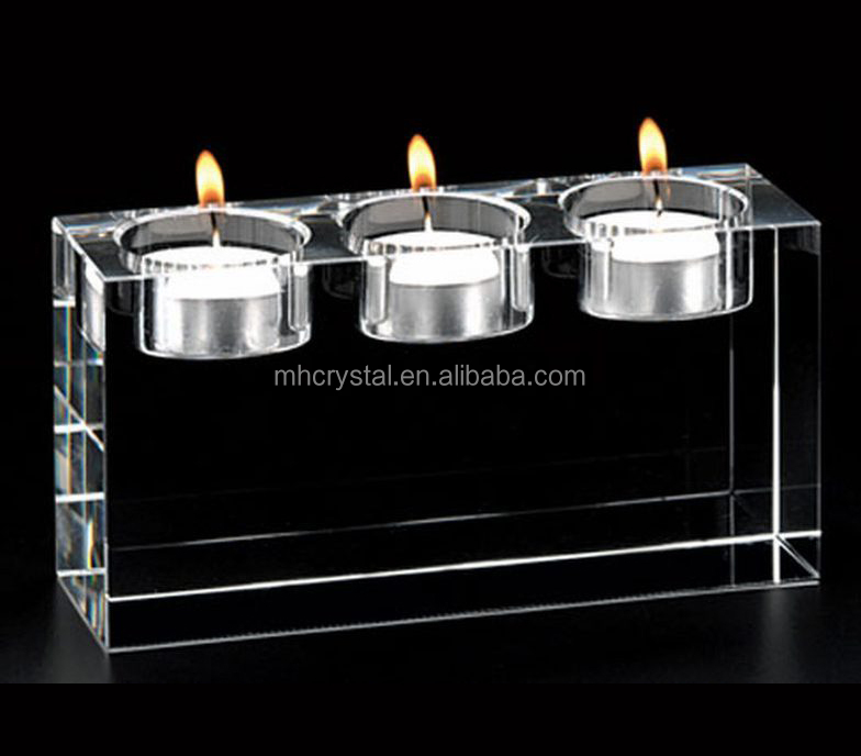 Solid Crystal Block Tea Light Candle Holder MH-1534