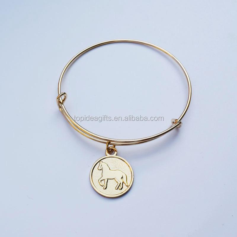 Hand stamped Gold Horse Metal Charms Bangle Bracelet Custom Gold Pendant  Adjustable Bracelet 68cbd14a90c8