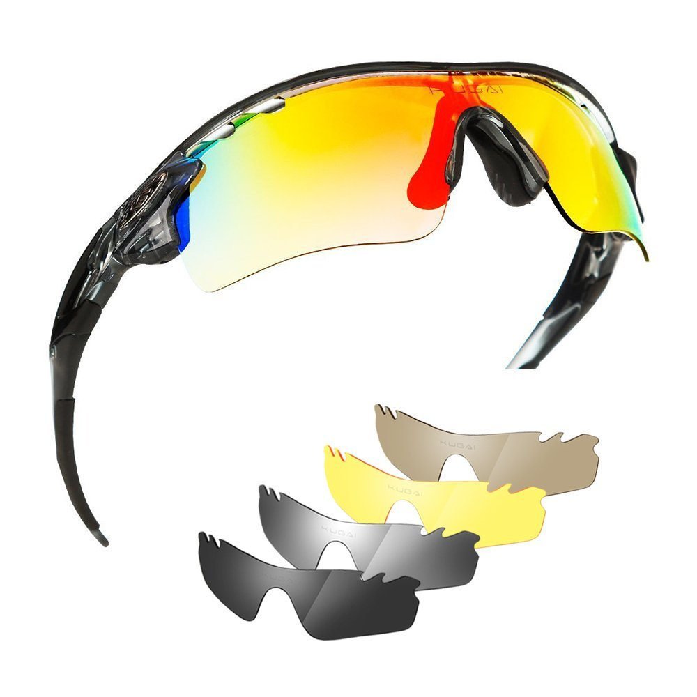 e281ae59bc Get Quotations · Polarized Sports Glasses Bike Sunglasses for Men Women  Youth Cycling Running Driving Fishing Golf Baseball with